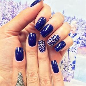 45 dramatic light blue navy blue royal blue nail designs