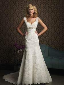 a line v neck empire waist lace wedding dress with straps With a line wedding dresses with straps
