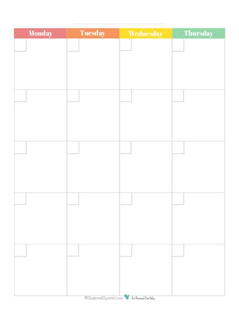 blank page month calendar rainbowpg monday start scattered