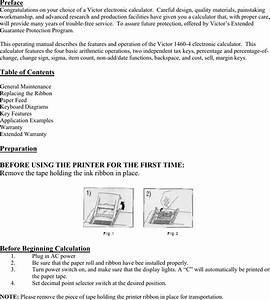 Victor Calculator Users Manual 1460 4