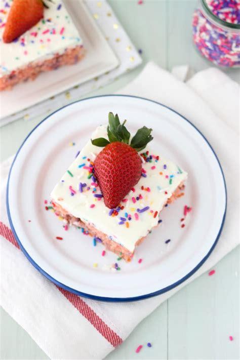 funfetti strawberry poke cake food fanatic