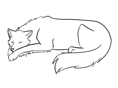 Free Sleeping Wolf Lineart By Lacey186 On Deviantart