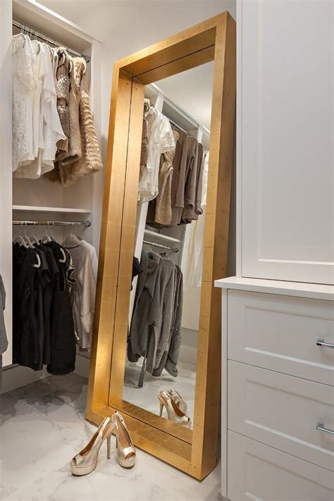 gold leaf floor mirror transitional closet