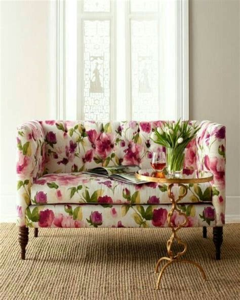 Floral Settee by Pink Green Floral Print Pink Green Home Decor