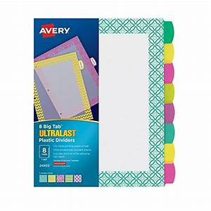 binder index dividers avery ultralast big tab plastic With avery 3 ring binder dividers