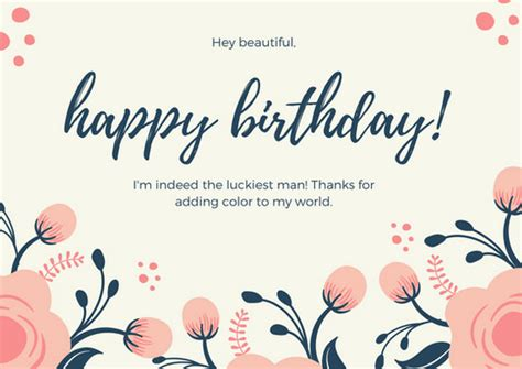 cream flowers girlfriend birthday card templates  canva