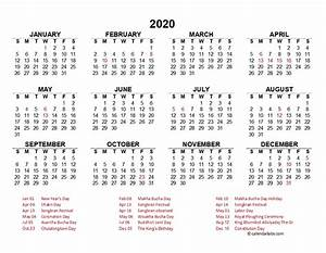2020 Yearly Calendar Template Word 2020 Thailand Yearly Calendar Template Excel Free
