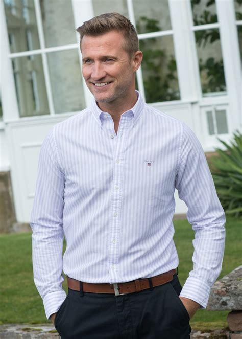 gant oxford banker striped shirt mens   hume uk