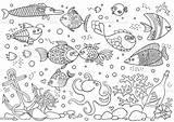 Aquarium Coloring Fish Underwater Octopus Vector Anchor Corals Bottle Shells Stones Illustration Sailboat Athlete Background Istockphoto sketch template
