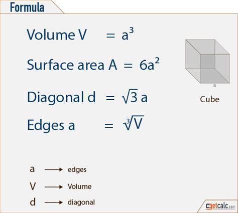 cube formulas volume surface area diagonal
