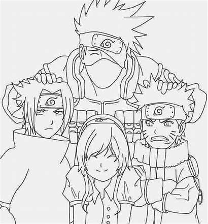 Sasuke Drawing Manga Team Coloring Pages Line
