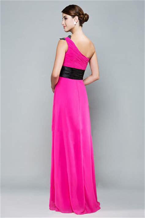 modern  shoulder pink chiffon floor length prom dress