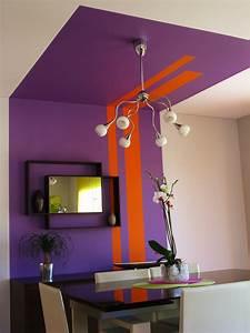 peinture mur plafond cosy deco couleur mauve With peinture mur de chambre