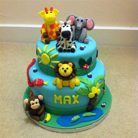 tier jungle animals birthday cake cakecentralcom