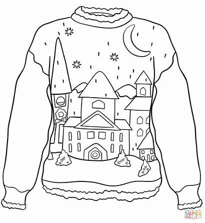 Sweater Coloring Christmas Pages Winter Ugly Printable