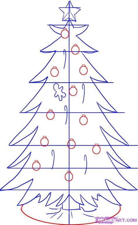 how to draw a christmas tree step by step christmas