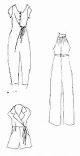 Jumpsuit Flat Template Sketch Jumpsuits Coloring Sewing Plans Summer sketch template