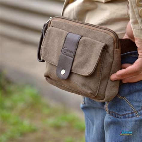 canvas mini pack mens waist bag coffee black  canvasbags