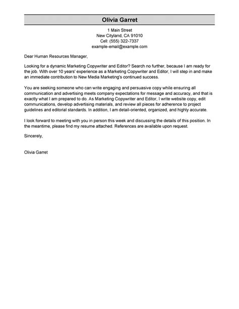 Editor Cover Letter by Best Copywriter And Editor Cover Letter Exles Livecareer