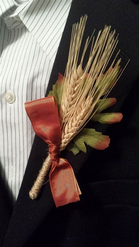 rustic fall wedding boutonniere boutineer wheat