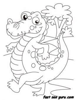 animals happy alligator  evening walk printable coloring pages  kids