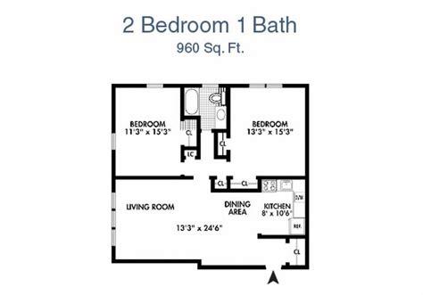 2 bedroom 1 bath house plans seramonte two bedroom floor plan 2 bed 1 bath 960 sq