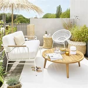 Canapé Jardin Pas Cher : canap de jardin 2 places isabella en m tal blanc canap ~ Premium-room.com Idées de Décoration