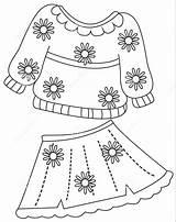 Coloring Colorir Roupa Colouring Imprimir Desenhos Printables Shorts Roupas Imagens Skirt Jacket Template Flowers sketch template