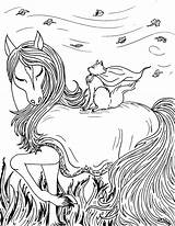 Coloring Pages Fantasy Horse Printable Pretty sketch template