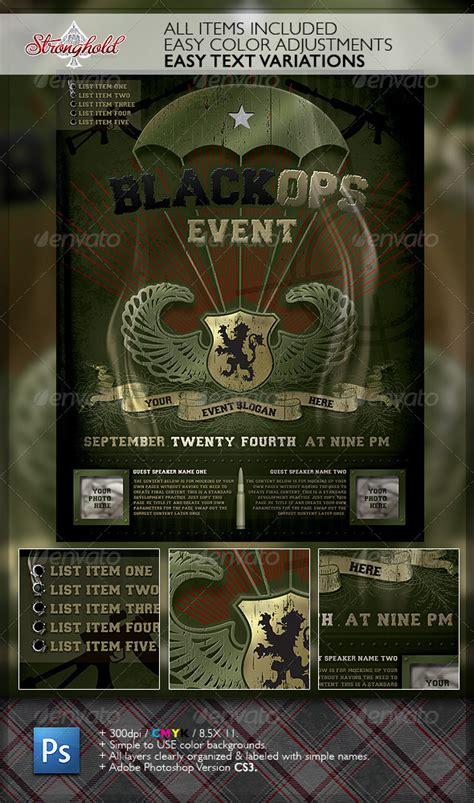 vintage black ops military paratrooper flyer