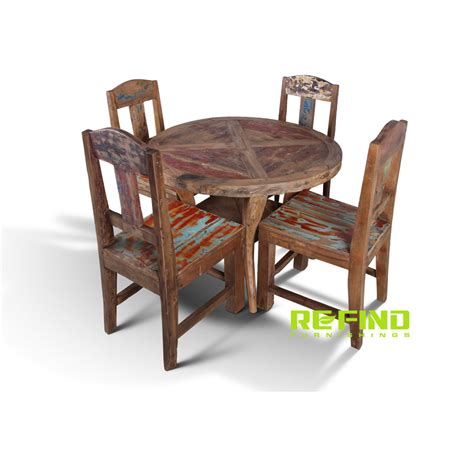 Round Wood Boat by Recycled Boat Wood Round Dining Table With 4 Dining Chairs