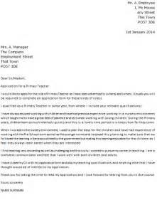 Primary Teacher Cover Letter