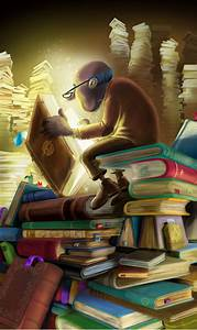 Old, Man, Reading, Magical, Book, Painting, Cartoon