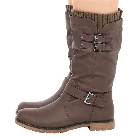 ladies biker boots womens shoes ladies mid calf low heel winter sock riding