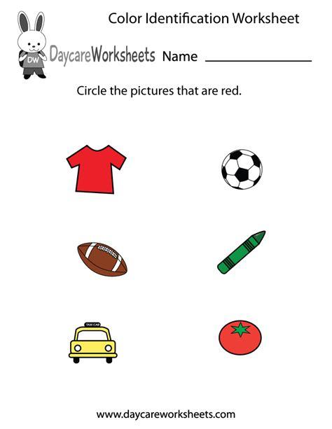 preschool color identification worksheet