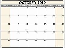 October 2019 blank calendar collection