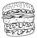 Coloring Cheeseburger Tattoo Cartoon Shirt Printable Bad Junk Sheet Getcolorings sketch template