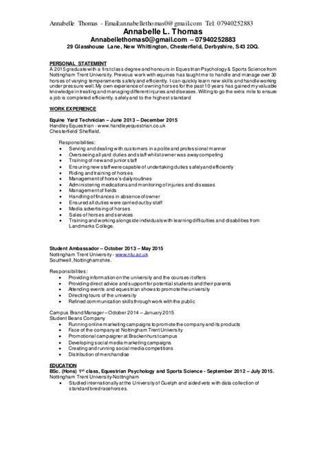 Equestrian Working Student Resume by Cv Equine