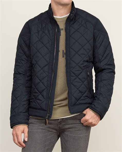 mens quilted bomber jacket abercrombie fitch quilted bomber jacket in black for