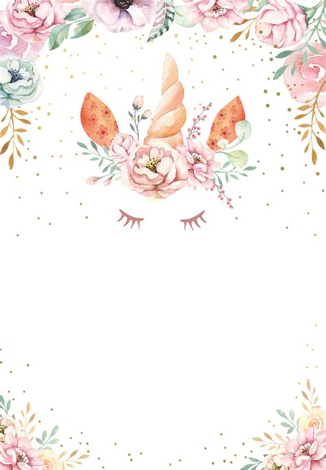 floral unicorn birthday invitation template