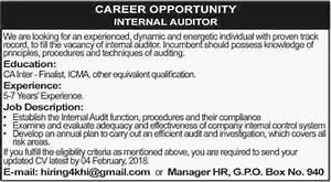 Internal Auditor required in Karachi 2018 Jobs Pakistan
