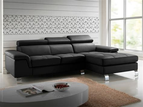 canapé d 39 angle cuir chocolat taupe ou noir mishima