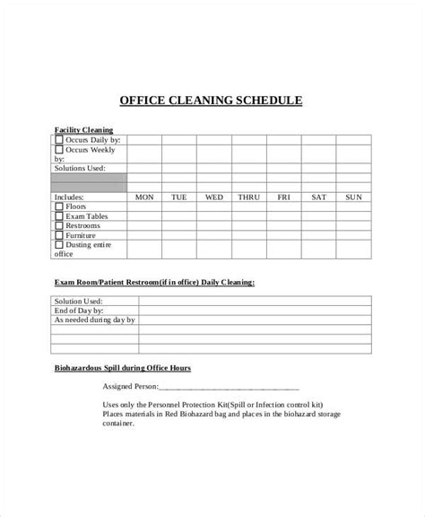 cleaning schedule template  office printable receipt
