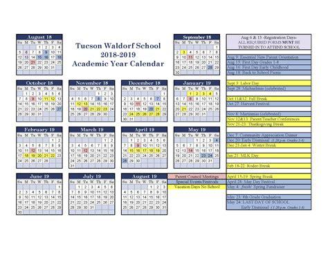 academic calendar tucson waldorf school