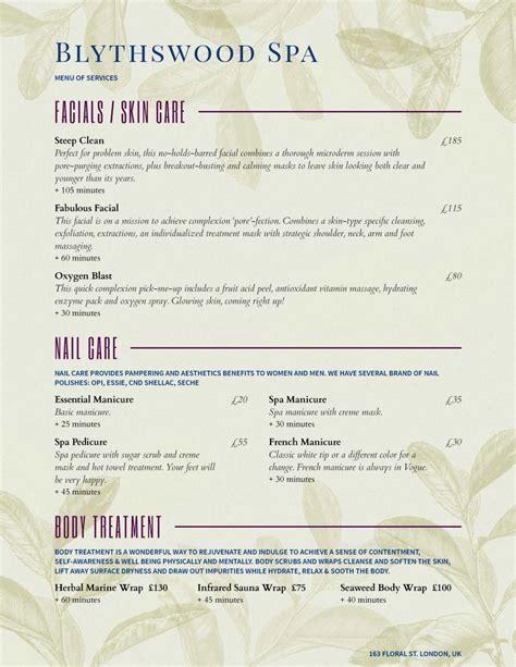 spa menu template menu exle