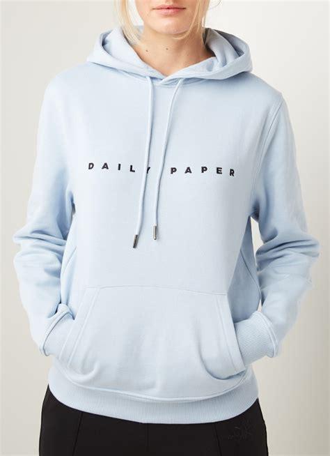 daily paper alias hoodie met logoborduring lichtblauw de bijenkorf