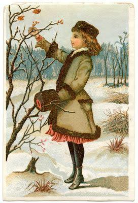 antique graphic winter girl  graphics fairy