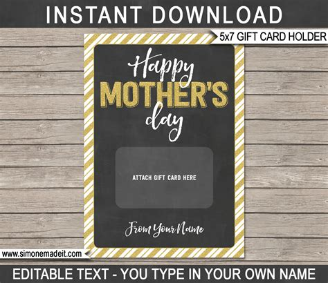 printable mothers day gift card holder  minute gift