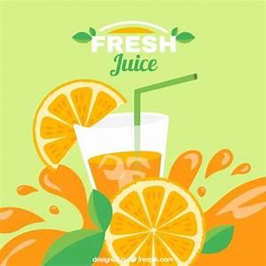 Flat background of delicious orange juice Vector | Free ...