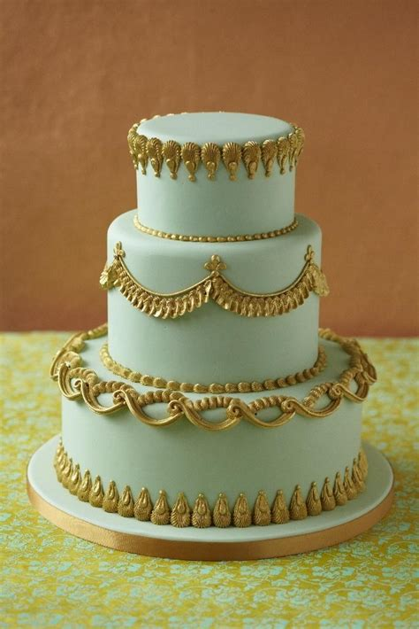 Mint Wedding Gold Trimmed Mint Cake 2067728 Weddbook